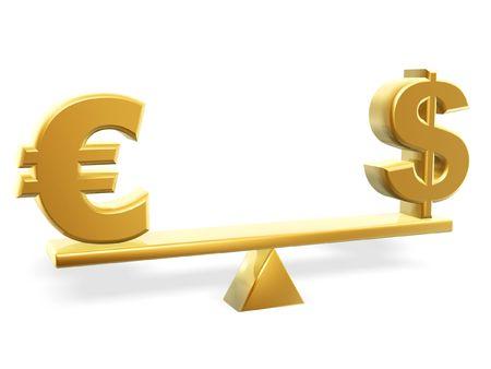 fulcrum: golden dollar and euro symbol on balance