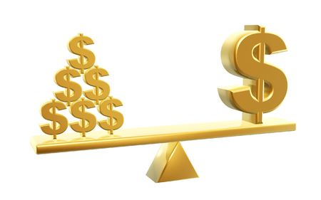 fulcrum: golden dollar and dollars symbol on balance