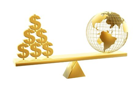 fulcrum: golden dollars and globe symbol on balance