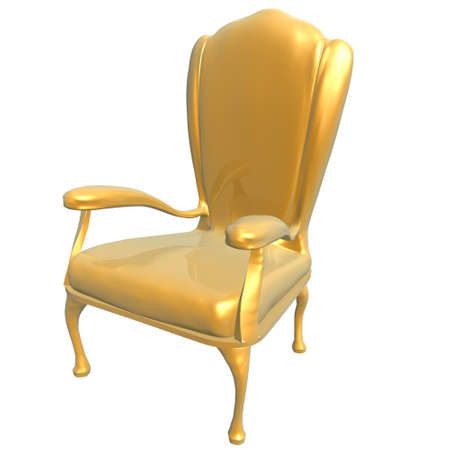 king chair: golden chair of king isolated on white background Stock Photo