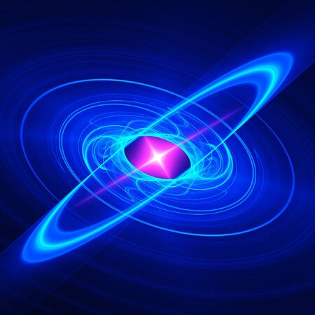 abstract chaos blue pink galaxy in dark space photo