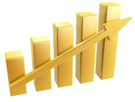 growing up: golden Business Graph of growing up arrow Stock Photo