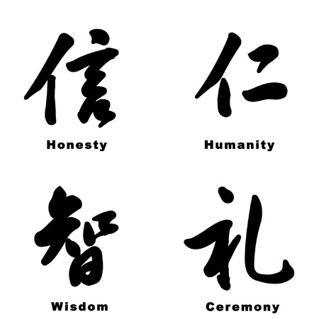 courtesy: ancient chinese manner tradition characters isolated on white background