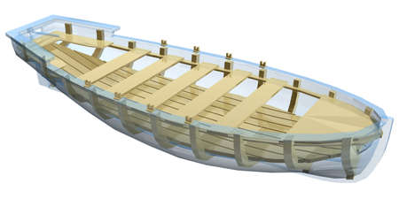 lifeboat: structure of lifeboat isolated on white background Stock Photo