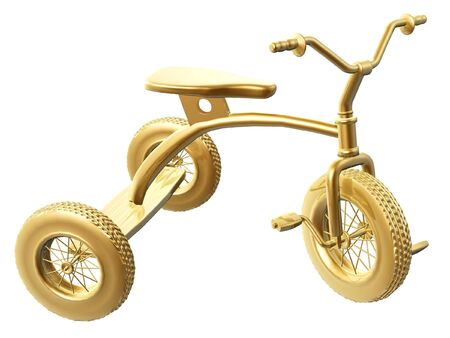 antique tricycle: golden tricycle of child isolated on white background