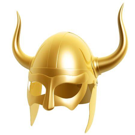 3d golden helmet isolated on white background Stock Photo