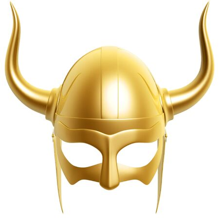 ancient civilization: 3d golden helmet isolated on white background Stock Photo