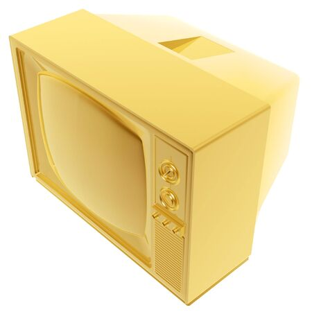 tvset: 3d old golden tv-set symbol isolated on white background