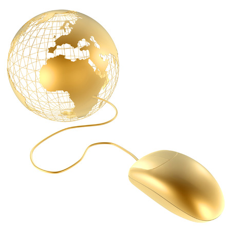 3d golden mouse and globe isolated on white back photo