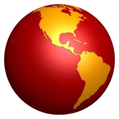 3d hot golden globe isolated on white background photo