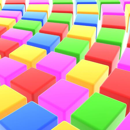 array: abstract colorful cubes array on white background