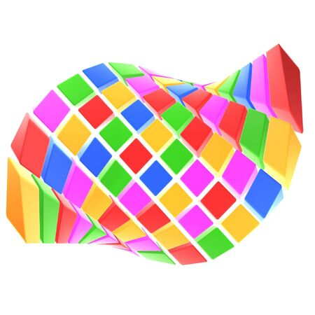arranged: abstract colorful cubes array on white background