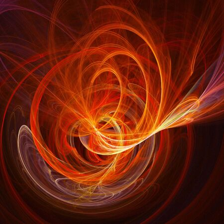 myst: abstract fire chaos spiral rays on dark background