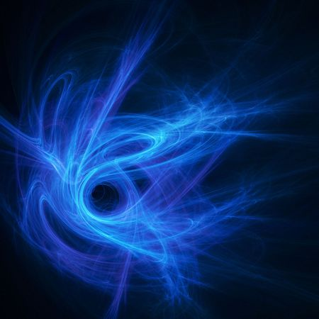 abstract chaos blue flame rays hole on black background photo