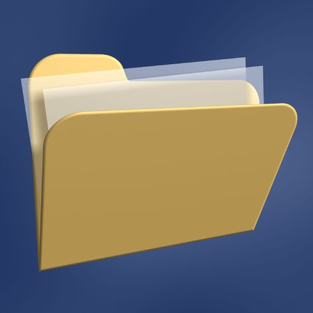 files  folder of computer isolated on blue background