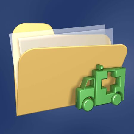 recover: safe files  folder of computer isolated on blue background Stock Photo