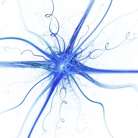 cellule nervose: neurone astratto micro cella su sfondo bianco