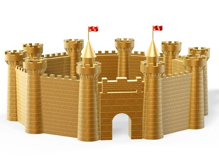 castle wall: golden castle fort isolated on white background Stock Photo