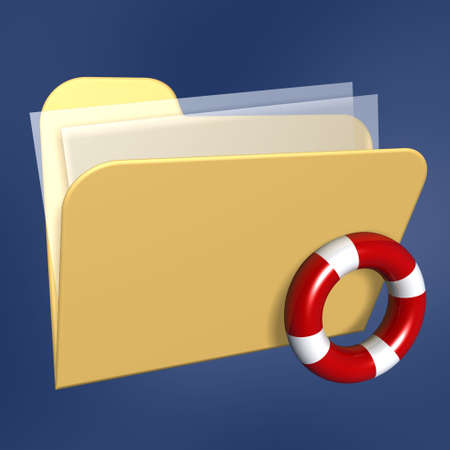 data recovery: files  folder of computer and lifebuoy isolated on blue background