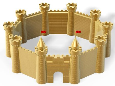imprisoned person: golden castle fort isolated on white background Stock Photo