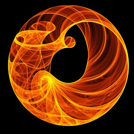 abstract hot fire ring on dark background