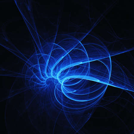 rays light: abstract blue chaos danger spiral rays on dark background Stock Photo