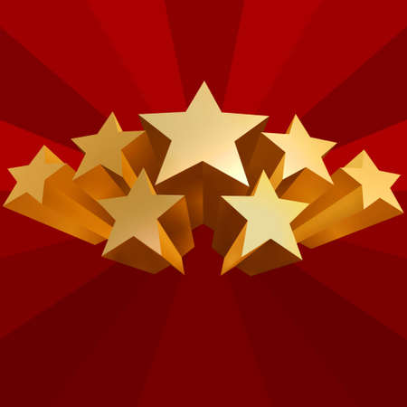 voter: golden stars of voting on red background