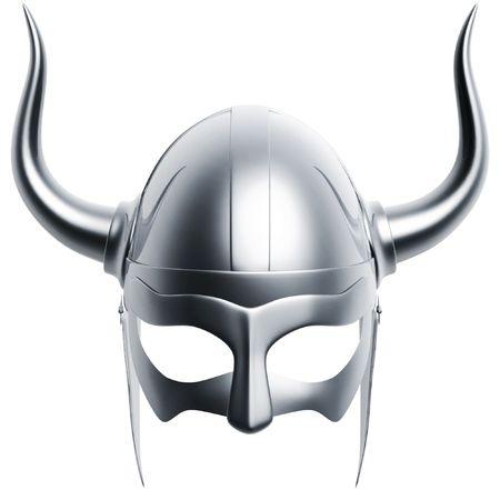 vikingo: 3d casco aislado de plata en fondo blanco
