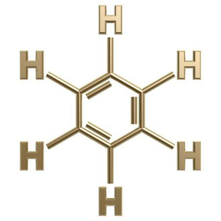 golden benzene structure isolated on white background photo