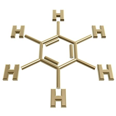 benzene: golden benzene structure isolated on white background Stock Photo