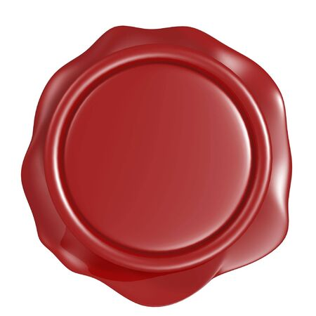 certificated: 3d red wax seal isolated on white background
