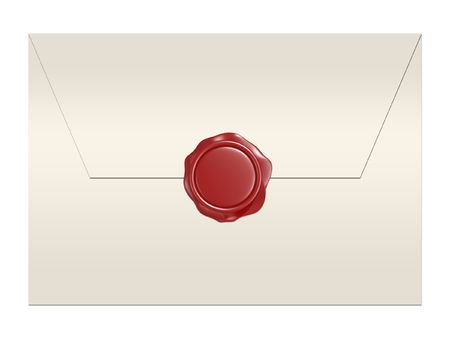 3d red wax seal isolated on white background photo