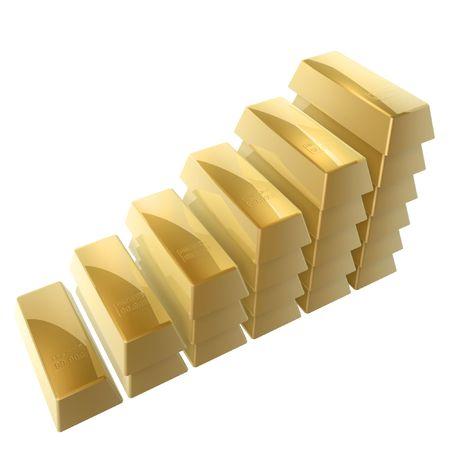 goldbars: 3d gold bars steps isolated on white background3 Stock Photo
