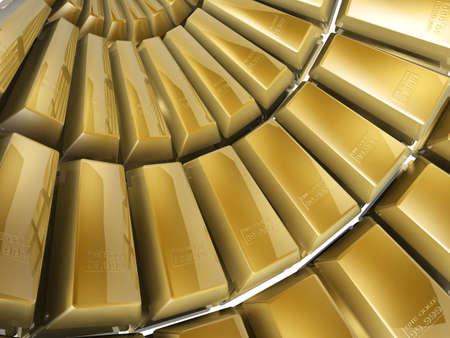 futures: 3d gold bars array on white background