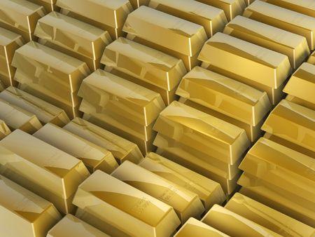 goldbars: 3d gold bars steps on white background