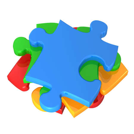 pileup: 3d colorful puzzles isolated on white background