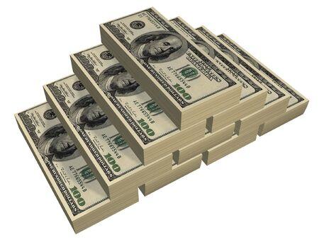 pileup: one hundred dollars pyramid isolated on white background