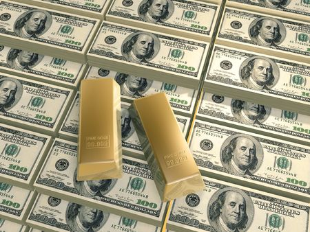 pileup: one hundred dollars piles and gold bars