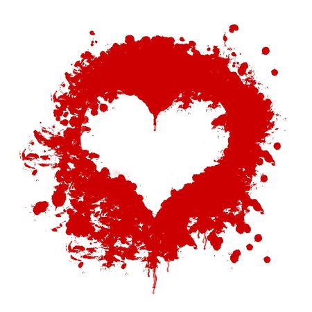 disaster relief: blood heart shape on white background