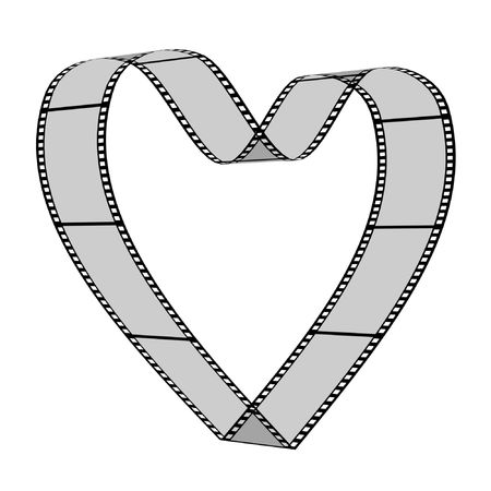 3d blank films heart over white background photo