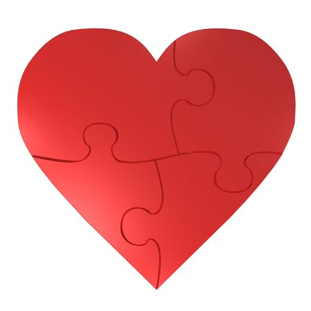 puzzle heart: red heart puzzle isolated on white background Stock Photo