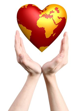 heart world in hands isolated on white background