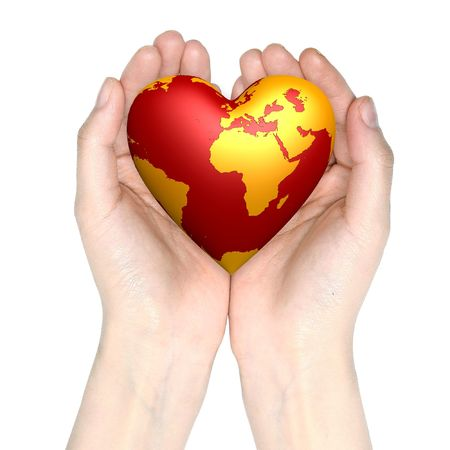 cure: heart world in hands isolated on white background