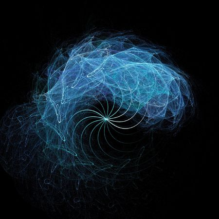 power of thinking: abstract brain spiral rays on dark background Stock Photo