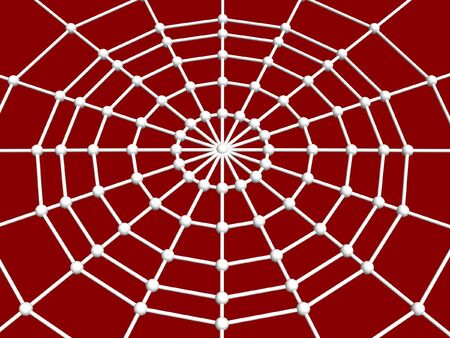 break joints: 3d spider web and joint isolated on red background