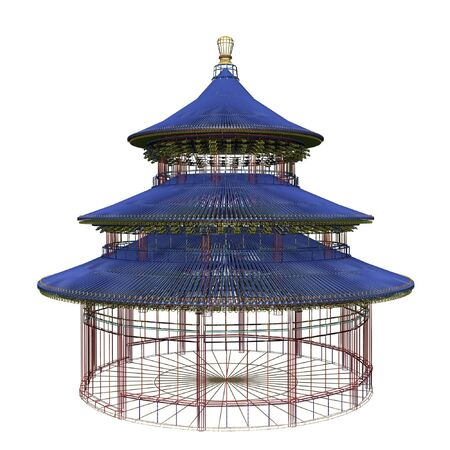 temple of heaven: temple of heaven in china wireframe isolated on white background Stock Photo