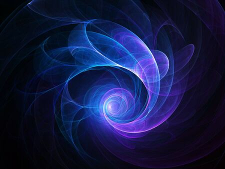 miracles: abstract blue spiral rays on dark background Stock Photo
