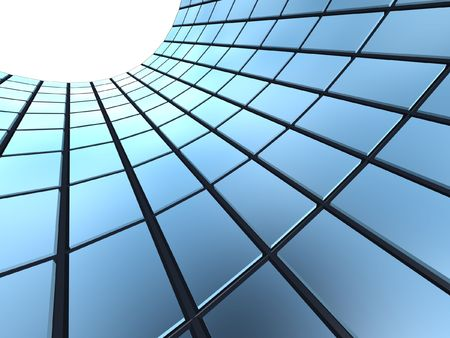 teknik: abstract blue cube windows frame background