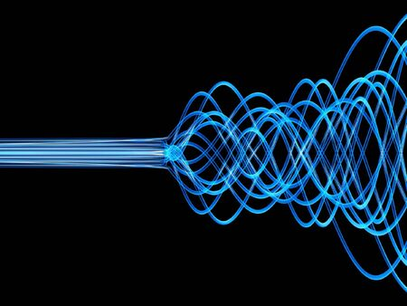 fiber optic cable: abstract blue optic fibers isolated on dark background Stock Photo