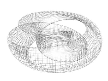 mobius symbol: abstract 3d render mobius ring isolated on white background